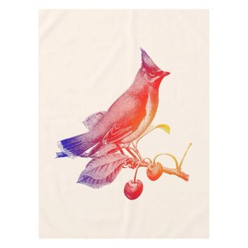 Cedar Waxwing Transparent Bird Tablecloth