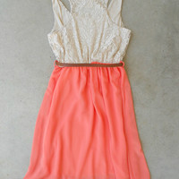 Apricot & Lace Dress [6087] - $27.20 : Feminine, Bohemian, & Vintage Inspired Clothing at Affordable Prices, deloom