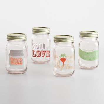 Spread the Love Glass Mason Jars Set of 4