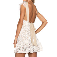 Alexis Slade Lace Crossback Dress in Fawn