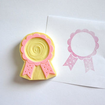 Hand Carved Rubber Stamp /  Award Ribbon