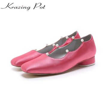 KRAZING POT 2018 silk sheep skin brand shoes thick low heels women square toe pearl pumps autumn European office lady shoes L29