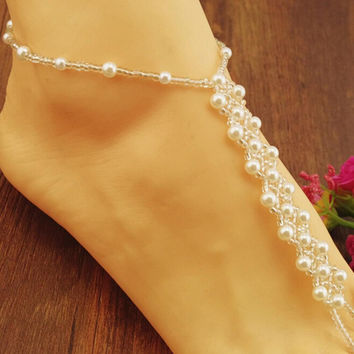 Women Anklets Beach Wedding Pearl Barefoot S als Stretch Anklet Chain Footless Bridal Foot Jewelry SM6