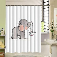 2017 New High Quality Elephant Printing Shower Curtain 3D Polyester Fabric Waterproof Mildewproof Bathroom Curtain