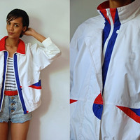 Vtg Red White Blue Zip Up Retro Nylon Jacket