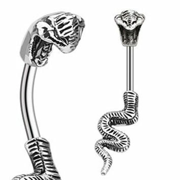 Body Accentz® Belly Button Ring 316L Surgical Steel Poisonous Cobra Navel Ring Split Snake 14 Gauge 3/8""