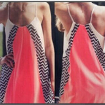 Color Block Zig-Zag Printed Spaghetti Strap Mini Dress