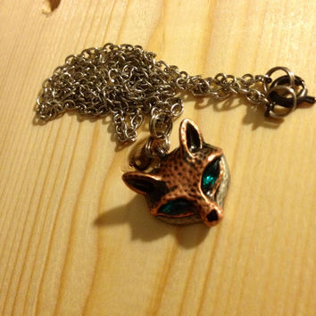 Fox necklace with gems