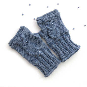 Knitted Owl Gloves - Fingerless Gloves - Arm Warmers - Knit Mitts - Made to Order - Any Color