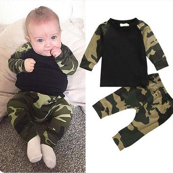Kids boys summer camouflage style infant clothes baby clothing sets boy Cotton little monsters full sleeve