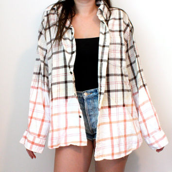Bleached Flannel Shirt - Pink & Brown