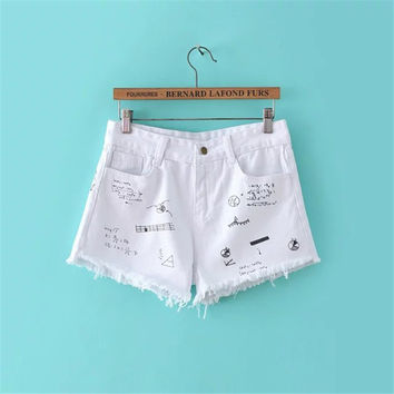 Summer Women's Fashion Print Shorts Jeans [4918908164]
