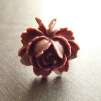 FLOWER RING Chocolate brown ring vintage rose adjustable brass ring