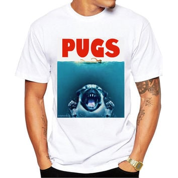 New Arrivals Fashion PUGS jaws Design Men's T Shirt Boy Hipster Cool Tops Casual T-shirt