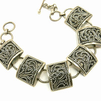 Ethnic Tribal Sterling 925 Decorative Link Bracelet