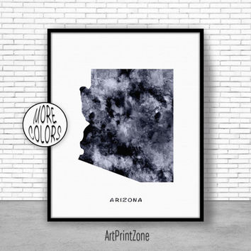Arizona Art Print Arizona Decor Arizona Print Arizona Map Art Print Map Artwork Map Print Map Poster Watercolor Map ArtPrintZone