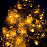 Wedding Details: A Sea of Mason Jar Candles | Inspirations & Creations - Elizabeth Anne Designs: The Wedding Blog