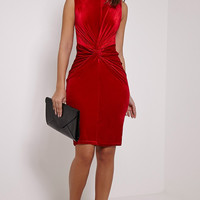 Tie Knot Velvet Bodycon  Dress