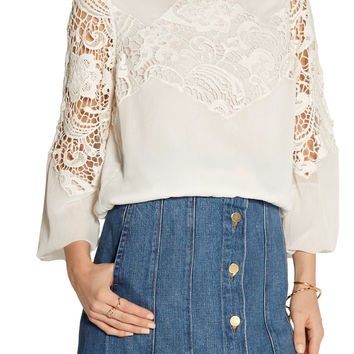 Jenelle georgette and guipure lace top | Alice + Olivia | US | THE OUTNET