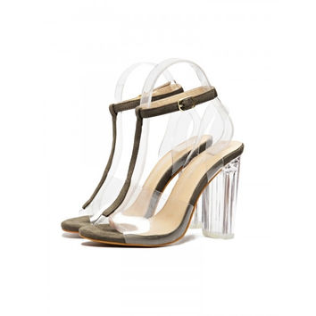 Casual Solid Peep Toe High Heeled Synthetic Leather T-strap Heels
