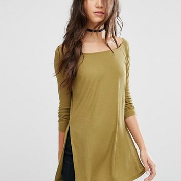 ASOS Off Shoulder Slouchy Top with Side Splits at asos.com