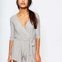 Boohoo | Boohoo Wrap Front Belted Playsuit at ASOS