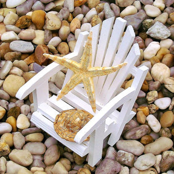 Miniature Adirondack Beach Chair Terrarium Accessories Starfish and Straw Hat