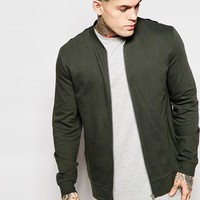 ASOS Jersey Bomber Jacket With Colour Block In Khaki at asos.com