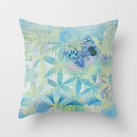 Butterfly Throw Pillow,  blue green Butterfly,  unique decor, pretty pattern