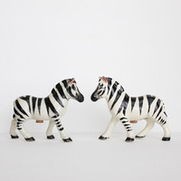 RESERVED Zebra Salt and Pepper Shakers Vintage Black White Stripe