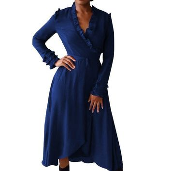 Navy Blue Ribbons Ruffle Irregular V-neck Fashion Midi Dress