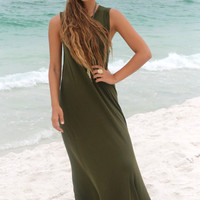 Olive Your Love Sleeveless Scoop Neck Maxi Dress