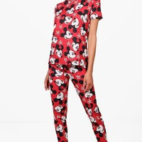 Katie Mickey & Minnie PJ Trouser Set | Boohoo