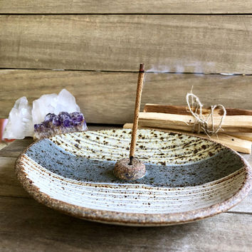 INCENSE BURNER handmade ceramic bohemian modern rustic boho gypsy great for meditation holds palo santo sage cones smudge sticks
