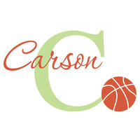 Personalized Basketball Wall Decal - Sports Theme Name and Initial Wall Decal for Boy Baby Nursery Bedroom Vinyl Wall Art 22H x 36W BN022