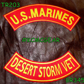 U.S. Marines Desert Storm Vet Embroidered Military Patch Set Sew on Patches for Jackets