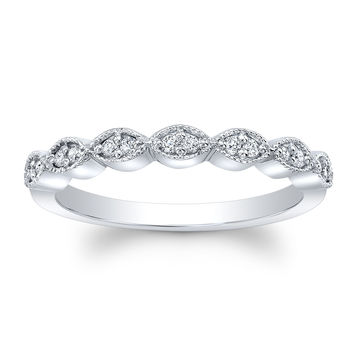 Ladies 18 kt white gold antique wedding band 0.12 ctw natural G color VS2 clarity round diamonds