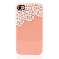 Hand Made Lace and Pearl Peach Orange Hard Case Cover