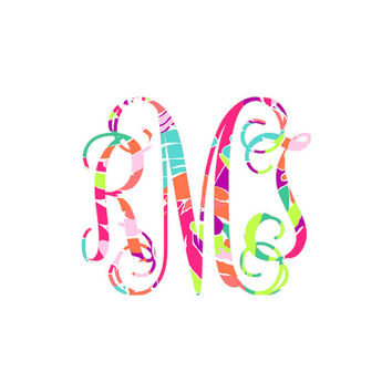 Vine Custom Monogram – Lilly Pulitzer Patterns Sticker