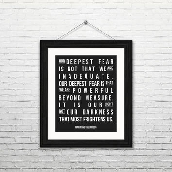 Our deepest fear - Marianne Williamson, 8x10 digital download, typography print motivational quotes inspirational instant download printable