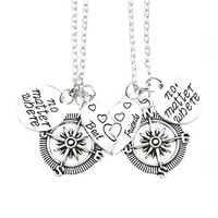 Silver Best Friends BFF Compass Necklaces Set
