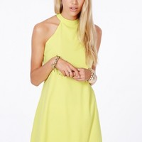 Missguided - Nikola Halterneck Shift Dress In Yellow