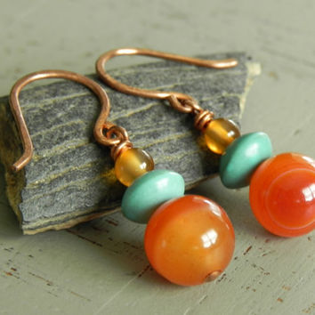 Red and Turquoise Stone Boho Earrings // Bohemian Tribal Copper Earrings // Forged Copper Earrings