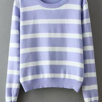 Purple White Long Sleeve Striped Cropped Sweater
