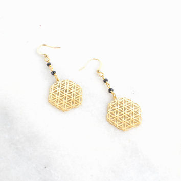 Flower Of Life Black Spinel Rosary Gemstone Earrings - Sacred Geometry - Oyem Mandala Earrings - Holistic Yoga Chakra Jewelry