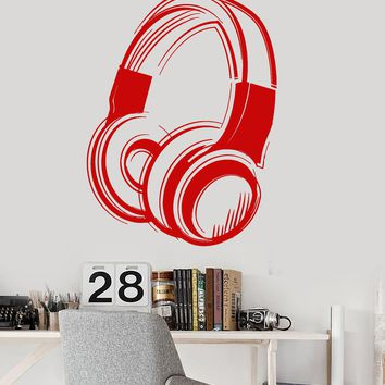 Vinyl Wall Decal Headphones Music Musical Art Teen Room Stickers Mural Unique Gift (ig3290)