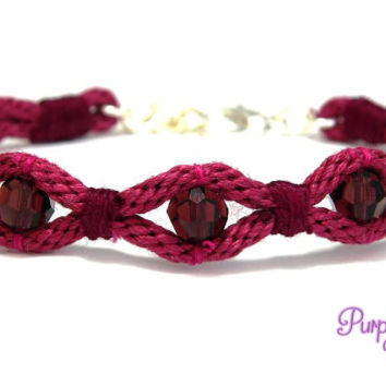 WAVE Kumihimo Bracelet with Crystal Beads, Braided Rope Bracelet with Swarovski Beads - Burgundy
