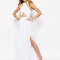 Fame and Partners Wired Cross Pleated Wrap Front Maxi Dress
