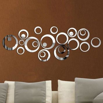 Fashion Home Decor Circles Mirror Style Removable Decal Vinyl Art Wall Sticker DIY