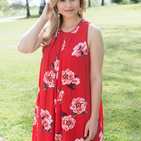 Pleated Sleeveless Floral Dress, Red